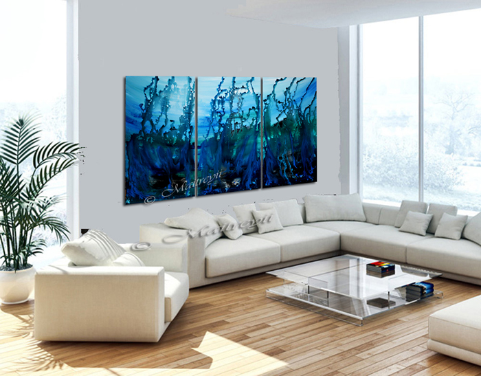 Seascape art painting in blue